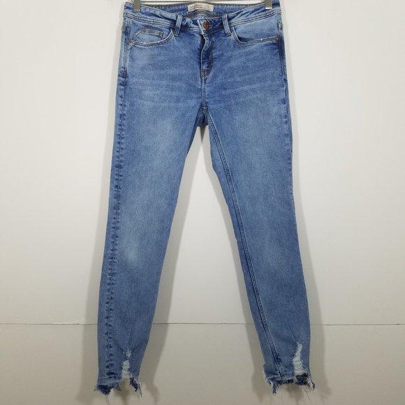 Zara Distressed Stretch Skinny Jeans Size 6